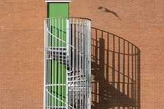 Green doors and spiral staircase (Jan van der Wolf) Tags: map15776v stairs staircase stairway trap wenteltrap shadow shadows doors green groen bird vogel