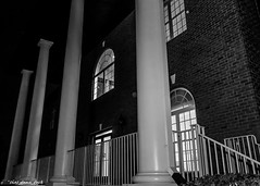 Four Columns At Night (that_damn_duck) Tags: blackwhite columns nighttime windows structure handrail brickwork bw blackandwhite