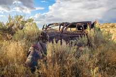 Parts and Pieces Scattered on the Ground (garshna) Tags: ruins rusty abandoned automobile sagebrush shot bulletholes broken damaged internationalgeographic
