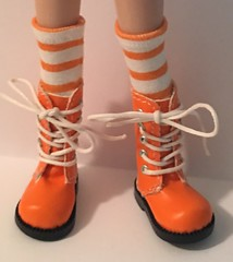 Orange And White Tall Socks...For Blythe...