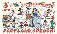 The Viking: Little Princess - Portland, Oregon (73sand88s by Cardboard America) Tags: vintage qsl qslcard cbradio cb theviking disney food oregon