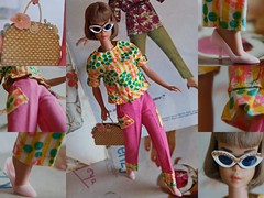 The Barbie Look! (DeanReen) Tags: vintage barbie american girl bendable leg brownette cinnamon nutmeg fashion doll mattel bob long hair lh ag lhag colour magic flower tote glitter sunglasses sunnies glasses cat eye pale pink pumps closed toe heels 1966 66 color fun yellow green white gold straw patches patched trousers pants ruffled shirt top flat n pak 1960s 60s 1963 63 1964 64 1965 65 bend titian collage animal look red magazines vogue bazaar