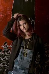 Sara (marcello.machelli) Tags: rosso sara portrait ritratto roma graffiti nikon nikond810 red outside ostiense arte streetart artedastrada newgeneration hair pink capelli rosa capellirosa pinkhair colours