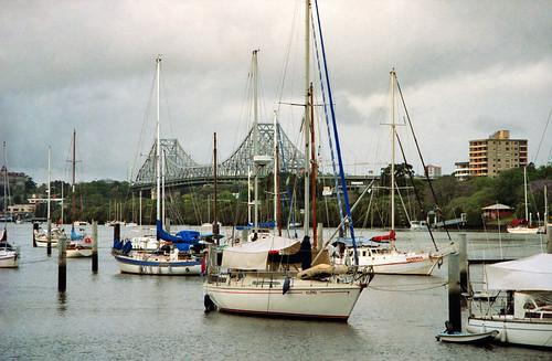 Oct 1995 - Yachts moored on the Brisbane River next to the City Botanical Gardens, Brisbane, Queensland, Australia