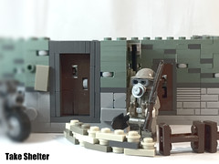 Take Shelter. (-=Spectre=-) Tags: ssd house shelter lego ww2 ww1 british gas mask
