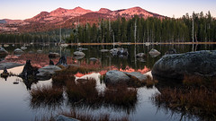 Evening reflections (Middle aged Nikonite) Tags: california wrights lake nikon d750 sunset reflections stillness rocks trees forest mountain colors landscape outdoor nature water tree wood grass