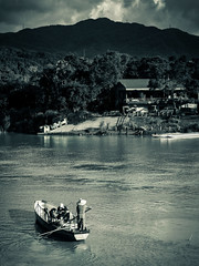 Time, Rowing Against The Current (Jimweaver) Tags: river stream water boat ship row mountain temple people bw shingdian bitan transport cloudy 台灣 新北 新店 碧潭 划船 溪 河 山 水 烏雲 自然 懷舊 taiwan taipei oldfasioned asia