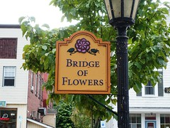 Entrance to the Bridge of Flowers in Shelburne Falls, Massachusetts (lhboudreau) Tags: mohawktrail bridgeofflowers bridge flower flowers shelburnefalls massachusetts shelburnefallsmassachusetts sign signage entrance outdoor outdoors tree lamppost buildings leaves leaf statestreet shelburne