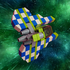 VV Space Racer (David Roberts 01341) Tags: lego spaceracer spaceship spacecraft microscale vicvipernnovvember scifi chequered checkered
