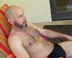 IMG_8343 (danimaniacs) Tags: shirtless man guy male mansolo beard scruff palmsprings bald hairy swimsuit trunks