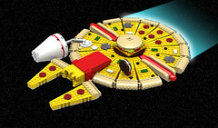 Fast Food Falcon (Oky - Space Ranger) Tags: lego star wars millennium falcon corellian freighter fast food pepperoni pizza burger hotdog fries milkshake cookie