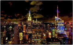 New York City Lights (Steve Lundqvist) Tags: new york usa states united america manhattan stati uniti travel trip viaggio urban city urbanscape ny nyc downtown building landscape panorama view point monocromo architecture cityscape top empire overlook structure pattern big apple architettura città edificio wide angle skyscraper grattacielo night low lights color rock rockfeller center fujifilm x100s