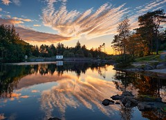 """Soft light"", Norway (Vest der ute) Tags: xt2 norway rogaland haugesund eivindsvatnet water waterscape landscape reflections mirror trees rocks shed sky clouds serene outdoor evening fall fav25 fav200"