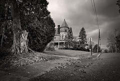 Stealing Thunder (drei88) Tags: epic storm clouds drama forlorn victorian mansion brooding desolate fortune opportunity windswept dreary bleak dark shadow light atmosphere searching history charged uphill turret architecture