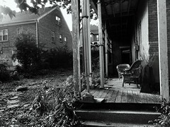 Old Stories From An Old Soul (Abandoned Illinois) Tags: old bw stories soul wicker abandoned galena illinois il urbex rurex exploration black white porch homage story olden overgrown strut wooden wood planks house
