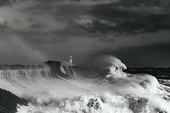 Ophelia backwash (Tim Bow Photography) Tags: stormophelia dramaticseascape dramatic sea water wales porthcawl lighthouse pier timboss81 timbowphotography ukwildweather storm storms ukstorms adventure outdoor windy violent hurricane ophelia mood ominous blackandwhiteseascape large waves