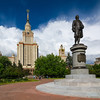 Lomonosov Moscow State University And Monument. (One to Russia) Tags: moscow state university msu lomonosov building architecture russia skyscraper stalin tower russian sky cityscape city soviet high landmark ussr education facade view style blue science college sister stalinskaya neoclassic house stalinist exterior monument construction tall famous day tree park historical scenic statue apartment capital sunny spire