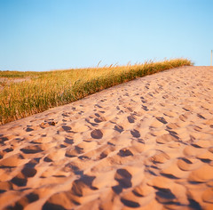 footprints, sleeping bear point (phatwhistle) Tags: sleepingbeardunes michigan leelanau dunegrass sky nature trail footprints mamiyac330 120film ektar100 mediumformat