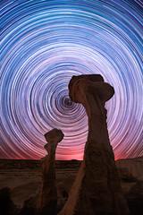 Bone Portal (Matt Payne Photography) Tags: bistibadlands denazinwilderness hoodoo hoodoos landscape longexposure newmexico night nightscape nikon1424f28 northstar polaris sonya7r2 startrails stars wilderness desert