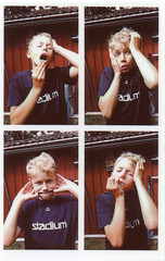 Face Your Fears (Magnus Bergström) Tags: polaroid snap polaroidsnap analog värmland sverige sweden zink zeroink photo booth photobooth portrait boy shirt house laughter play faces happy ekshärad wermland people vilnil00 tshirt
