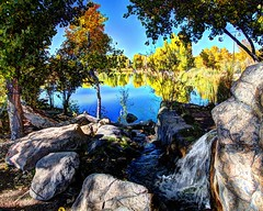 Tingley Beach Pond View (JoelDeluxe) Tags: tingley beach abq bosque albuquerque dukecity nm newmexico biopark ponds fall colors red orange yellow green blue ducks wildlife fishing recreation landscape panorama hdr joeldeluxe