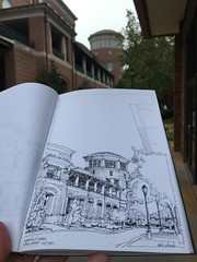 Quick morning sketch before I watch the baseball scrimmage - University of Georgia (schunky_monkey) Tags: illustrator illustration penandink ink pen fountainpen journal notebook drawing draw sketchbook sketching sketch freehand handdrawn brick college campus building architecture georgia athens universityofgeorgia uga