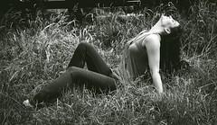 ... geniessen (gabrieleskwar) Tags: outdoor portrait shooting schwarzweiss schwarz weiss schatten gras