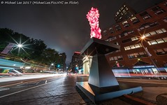 Chihuly on Union Square East (20171015-DSC01472-Edit) (Michael.Lee.Pics.NYC) Tags: newyork unionsquare dalechihuly rosecrystaltower publicart night longexposure architecture cityscape park traffictrail lighttrail sony a7rm2 voigtlanderheliar10mmf56