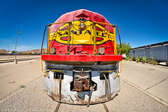 WARM War Bonnet (dejavue.us) Tags: 105mmf28 d90 warm nikon fisheye barstow museum warbonnet route66 locomotive mojavedesert santafe california railroad