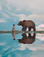 470 Checkmate (Katrina Yu) Tags: surreal fantasy conceptual animal bear brown 2017 365project manipulation photoshop fineart selfportrait katerina plotnikova dream daydream