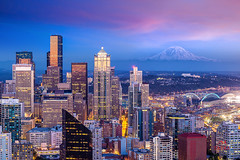 Seattle (Tatra Photography) Tags: tourism downtowndistrict dusk pugetsound skyscraper mtrainier blue famousplace architecture panoramic seattle pacificnorthwest usa northamerica sunset mountain tower urbanskyline cityscape citycenter northwestern westcoast