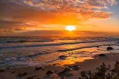 Atlantic dusk (Coisroux) Tags: beach rocks sunset mistycliffs capetown dusk glow luminescence illuminate sunlight dramatic goldenhues skyline clouds nikond5500 nikond nightscape shadows ocean atlanticocean waves reflections misty atmosphere d5500 landscape backlight 7dwf