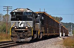"Westbound Auto Train in Birmingham, MO (""Righteous"" Grant G.) Tags: ns norfolk southern railroad railway locomotive train trains west westbound auto truck frame missouri diamond kansas city"