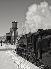 Iconic Nevada Northern (rolfstumpf) Tags: usa nevada nevadanorthern steam locomotive ely watertower coalingtower railway railroad monochrome blackwhite olympus e520