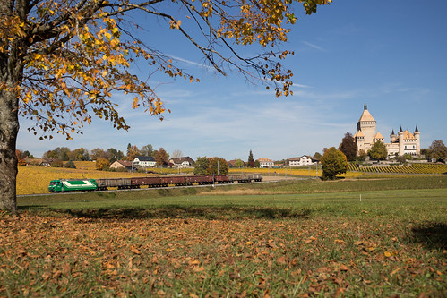MBC Ge 4/4 21 avec un train de betteraves à Vufflens-le-Château