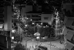 Lamia-Greece by night, BW (KF-GR) Tags: fx fullframe buildings architecture streets cityscape europe city lamia greece nightshot night nikkor135mmf2dc nikkor nikkor135 longexposure nikon shadows lights darkness d750 nikond750