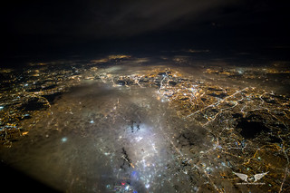 Central London under a shallow cloud layer