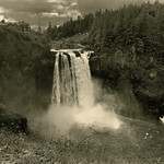 Taking in The Complete Setting of Snoqualmie Falls (Black & White) thumbnail
