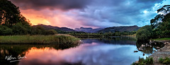 Elterwater and the Langdales at Sunset (NDSD) Tags: cumbria lakes lake district mountain ranges mountains sun orange pink landscape contrast sky blue clouds water view panorama pano vista sundown sunset night natural beauty light lights dark darkness scenic scenery setting england hills horizon northern north evening dusk sunlight elterwater langdale pikes great rocks swans reflection reflect