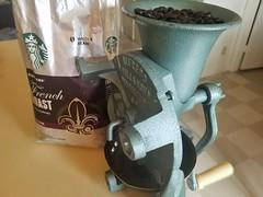 Made in Brazil (Helenɑ) Tags: dark coffee grinder coffeegrinder manualcoffeegrinder starbucks wholebean frenchroast beautifulgeometry