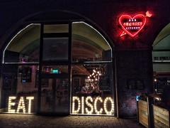 Eat Disco (tubblesnap) Tags: leeds lock reflection granary wharf archies bar grill neon sign low light night photography snapseed