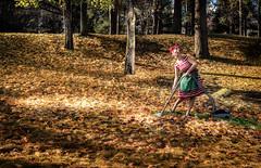 Seasonal cleaning with style (TribeChristal´s) Tags: autumn portrait landscape ruska syksy muotokuva lehdet leaves pinup sonyalpha sonya7 sigma2470 kuopio finland