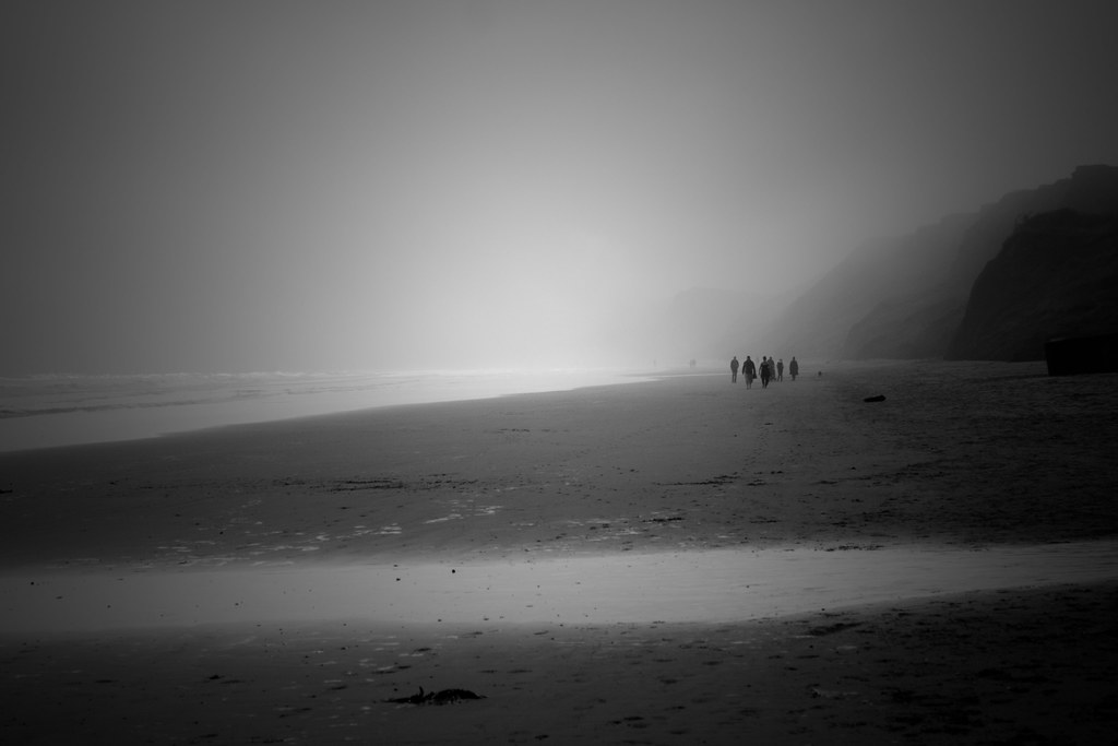Filey Beach BW