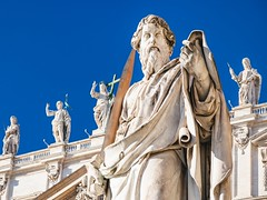 Sculpture of Apostle Paul near St Peter Basilica (altextravel) Tags: italy roma rome city italian travel tourism town urban architecture tour trip journey visit landscape cityscape scenery scenic scene view outdoors exterior sightseeing landmark sunny day blue sky statue sculpture figure vatican church cathedral edifice basilica paultheapostle paul apostle saintpaul peter st saint catholic monument sword paolo san piazza sanpietro