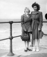 Friends at the seaside Aug 18th 1948 (vintage ladies) Tags: vintage blackandwhite portrait people photograph photo female woman lady shoes ladies women seaside coast coat smile smiling handbag shoe eoshe 40s 40sladies 40swomen 40sstyle