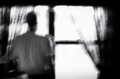 DayDreams (Anne Worner) Tags: anneworner blackandwhite d7000 lensbaby nikon velvet56 bw candid curtains highcontrast lookingout man mono noire standing standingatthewindow window