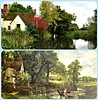 The Hay Wain... then and now (Peter Denton) Tags: haywain johnconstable painter artist flatfordmill willylott diptych riverstour suffolk england eastanglia canoneos100d diptych©peterdenton art thenandnow landscape peace tranquil tranquillity idyll rural bucolic gibbonsgatefarm house reflet reflection water