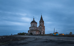 Twilight in the Russian Village (Oleg.A) Tags: ancient autumn penzaregion russia church cloudy brick outdoor ruined evening villiage clouds old destroyed inside abandoned interior building bell dome twilight materials architecture cross antique shadow orthodox orange outdoors lunacharskoye penzenskayaoblast ru