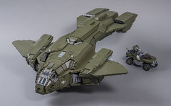 """D77H-TCI Pelican (from """"Halo 3"""") (SteppedOnABrick) Tags: halo 3 pelican warthog video games xbox moc lego unsc 343 bungie d77htci"""