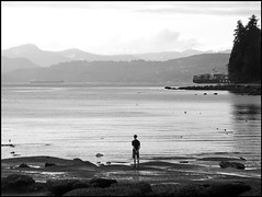 Water is conducive to thinking... (HereInVancouver) Tags: bw blackandwhite canong16 ocean pacific shore rocks trees mountains outdoors candid deepthoughts contemplation man englishbay stanleypark vancouver bc canada streetphotography thingstodobythewater